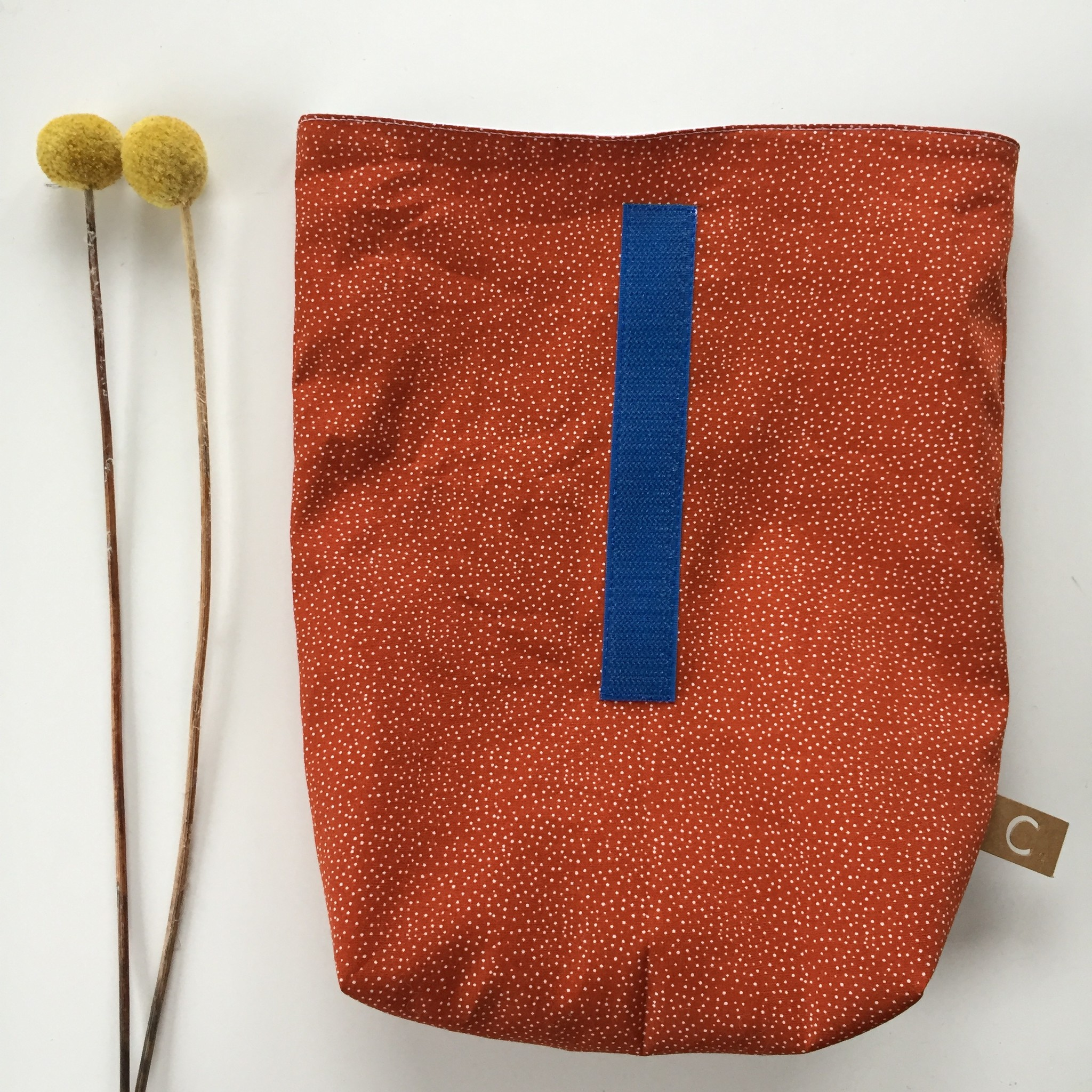Lunch bag orange-coloured made of cotton fabric