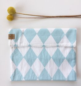 STUDIO C. / Cotton Snack Bag with Blue/White Rough Pattern
