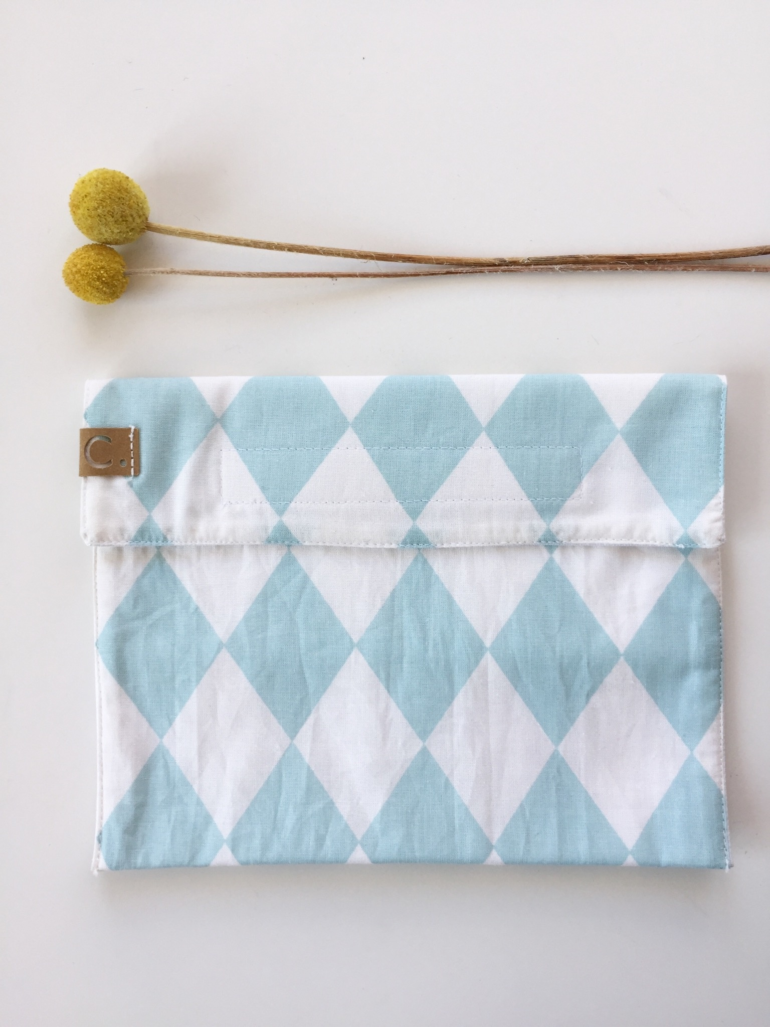 Cotton Snack Bag with Blue/White Rough Pattern