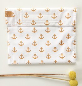 STUDIO C. / Cotton Snack Bag White with Golden Anchor Pattern