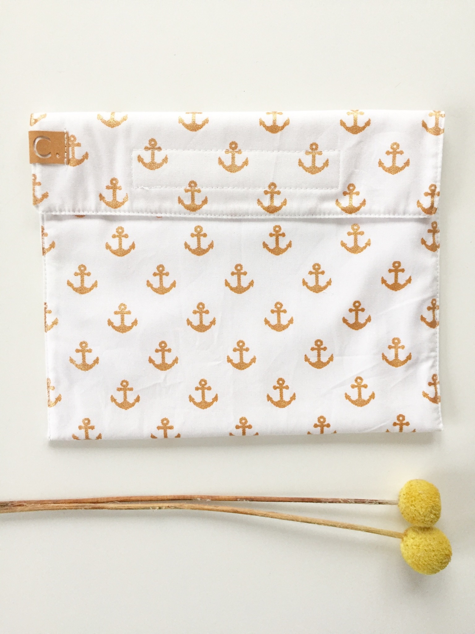 Cotton Snack Bag White with Golden Anchor Pattern
