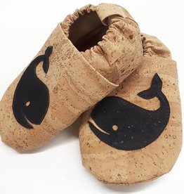 """HIPPA / Kids Slippers """"Whale""""  made of vegan corc fabric"""