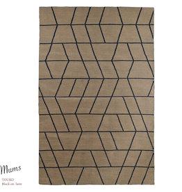 """MUM'S / Teppich """"Touko / Black on Latte"""" aus recycelter Baumwolle 90x200x1 cm"""