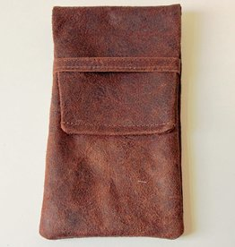 OMPELUS / Reindeer leather case in dark brown for glasses or mobile phone