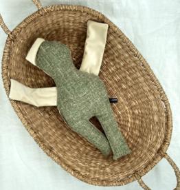 UMGENÄHT / Puppe grün-weissfarben 40 cm