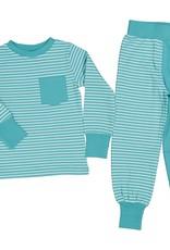 Kinder Pyjama weiss-mintfarben