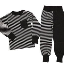 GEGGAMOJA / Kinder Zweiteiler Pyjama schwarz/weiss