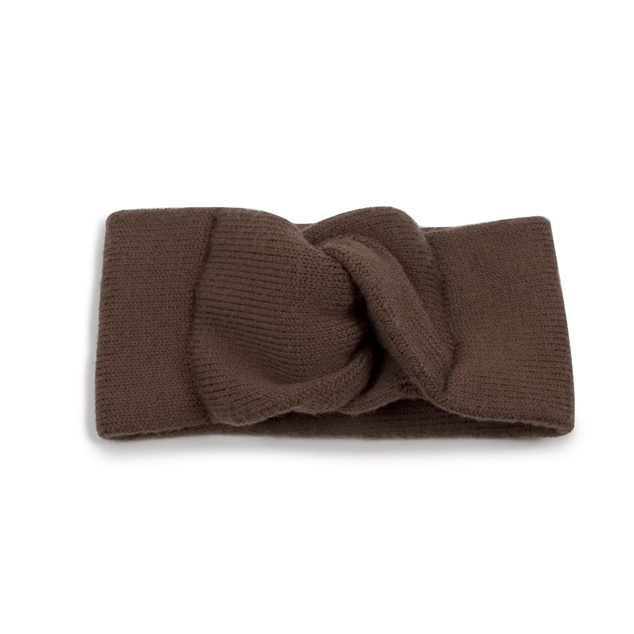 Merinowolle-Stirnband milchschokoladenfarben