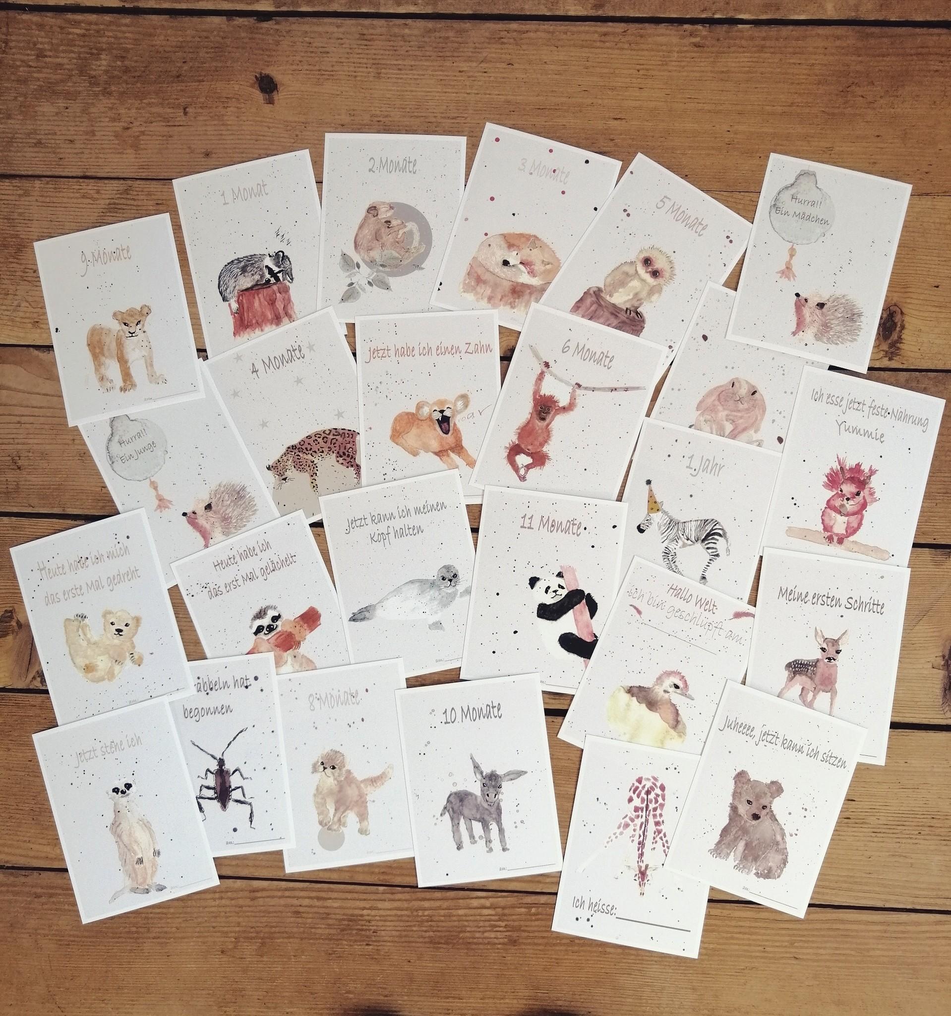 Meilensteinkarten für das erste Jahr vom Baby