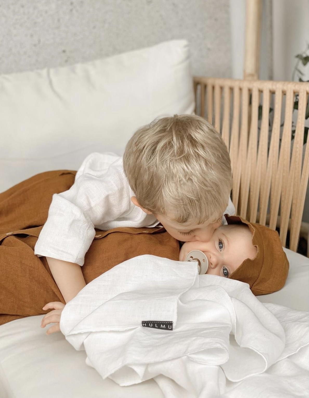 Baby Leinendecke zimtfarben 80 x 120 cm