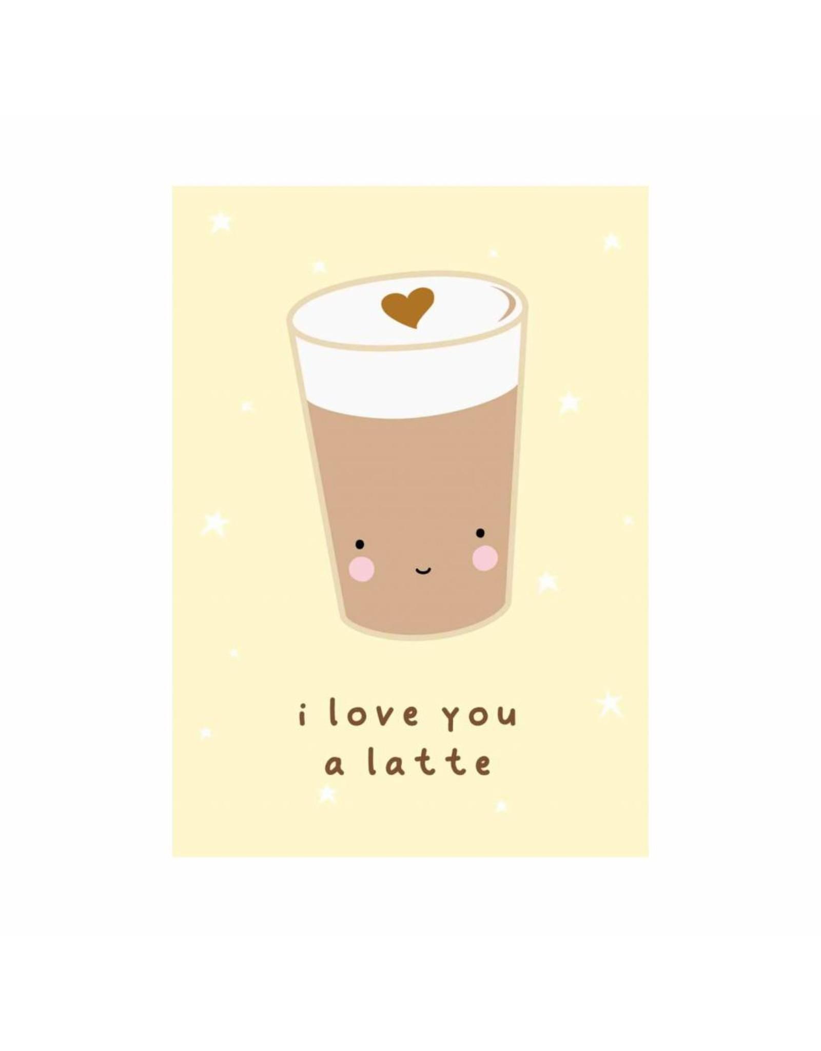 Postkaart I love you a latte