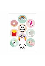 Stickers kawaii mix regenboog