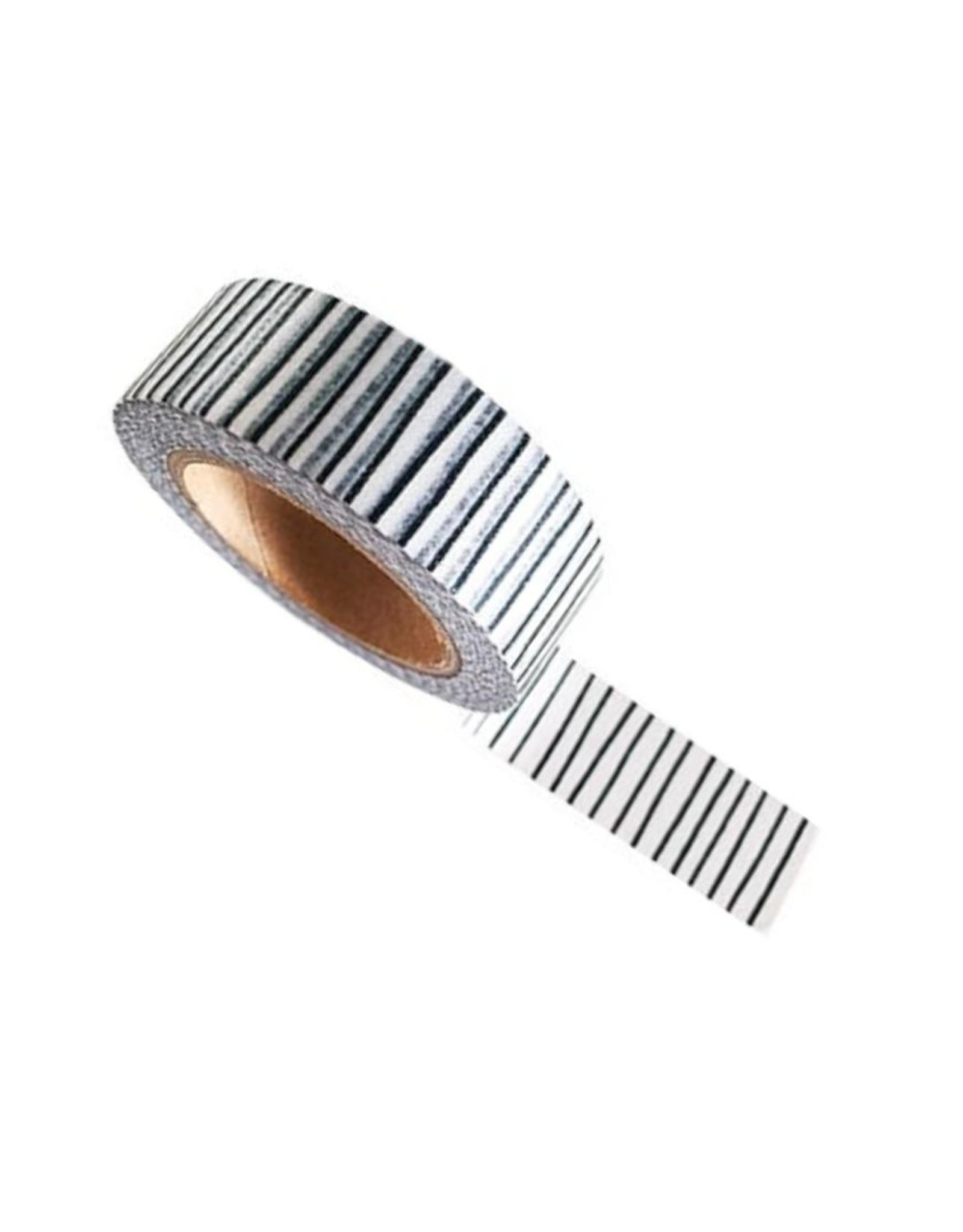 washi tape wit / zwart stripes smal