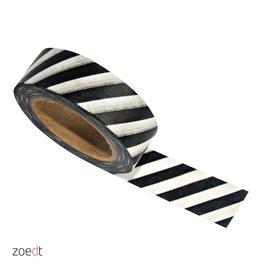 washi tape zwart/ wit stripes breed