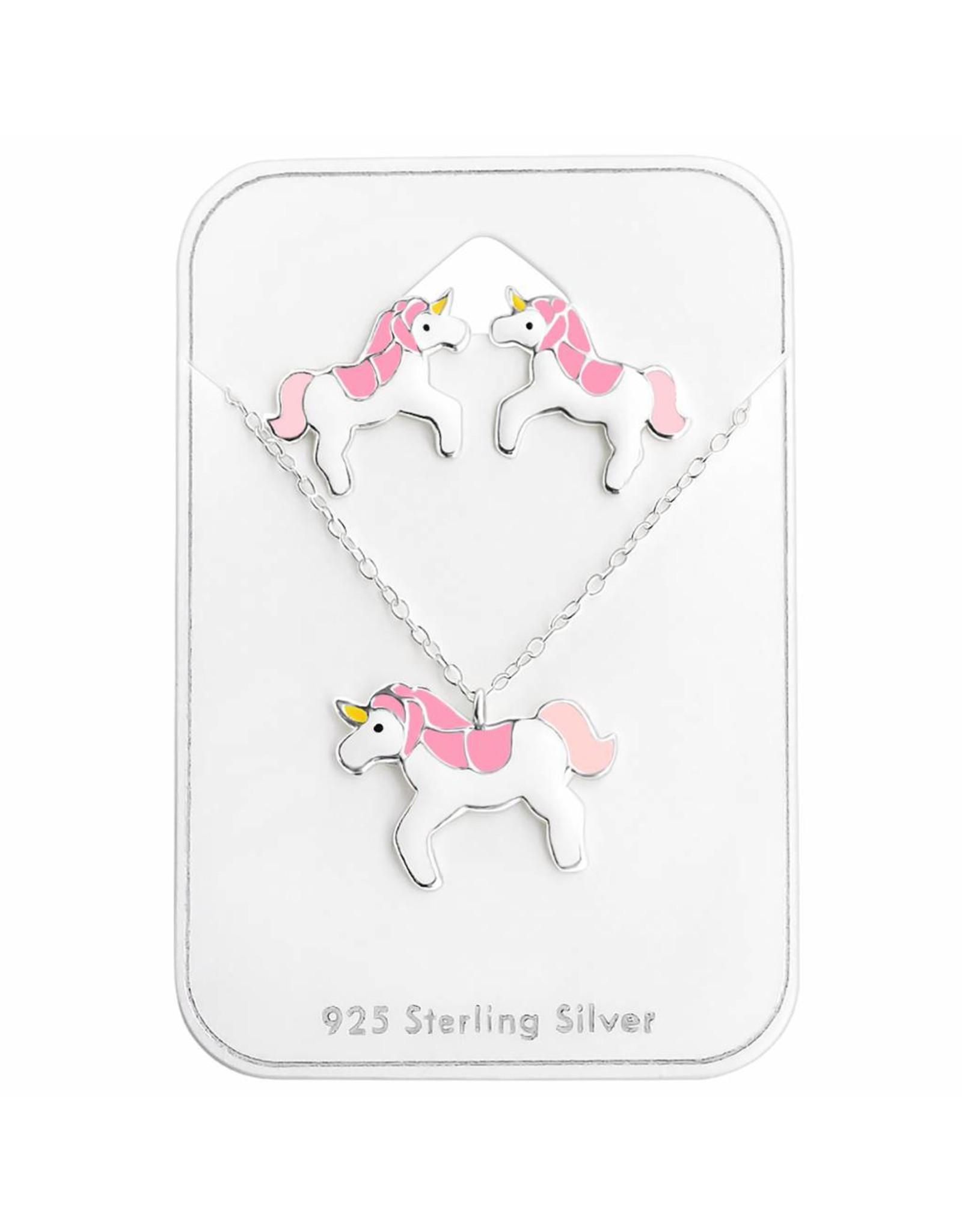Stekertjes & hangertje zilver eenhoorn roze
