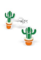 Stekertjes zilver cactus groen