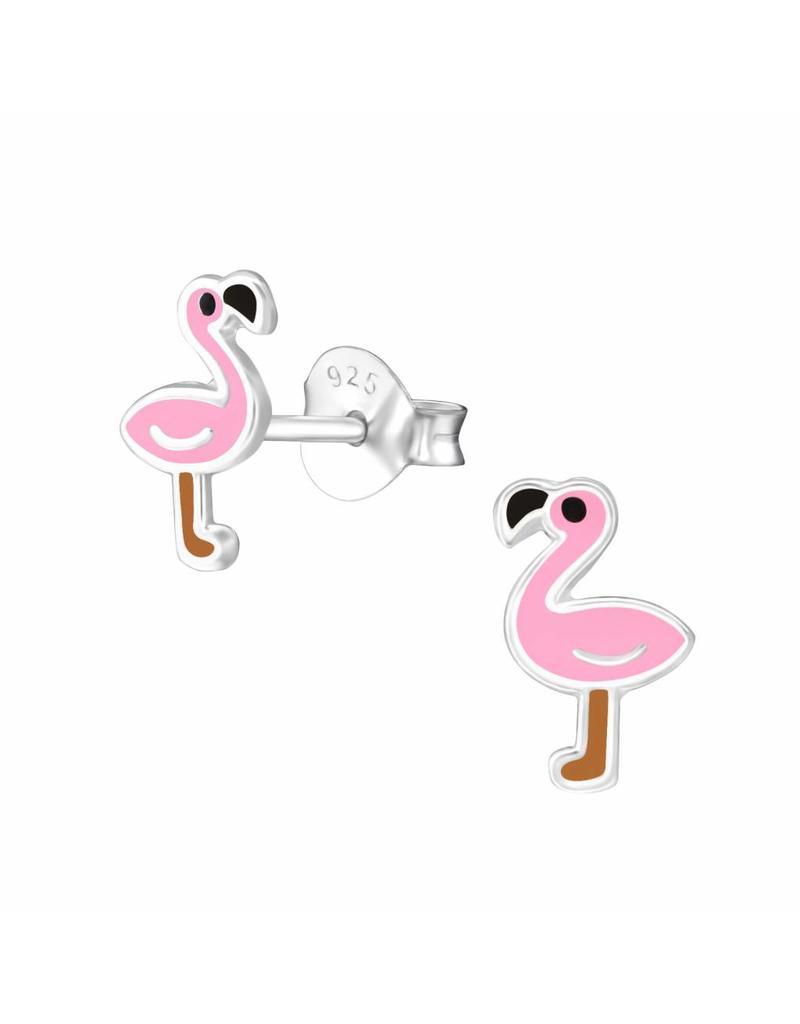 Stekertjes zilver flamingo bruin