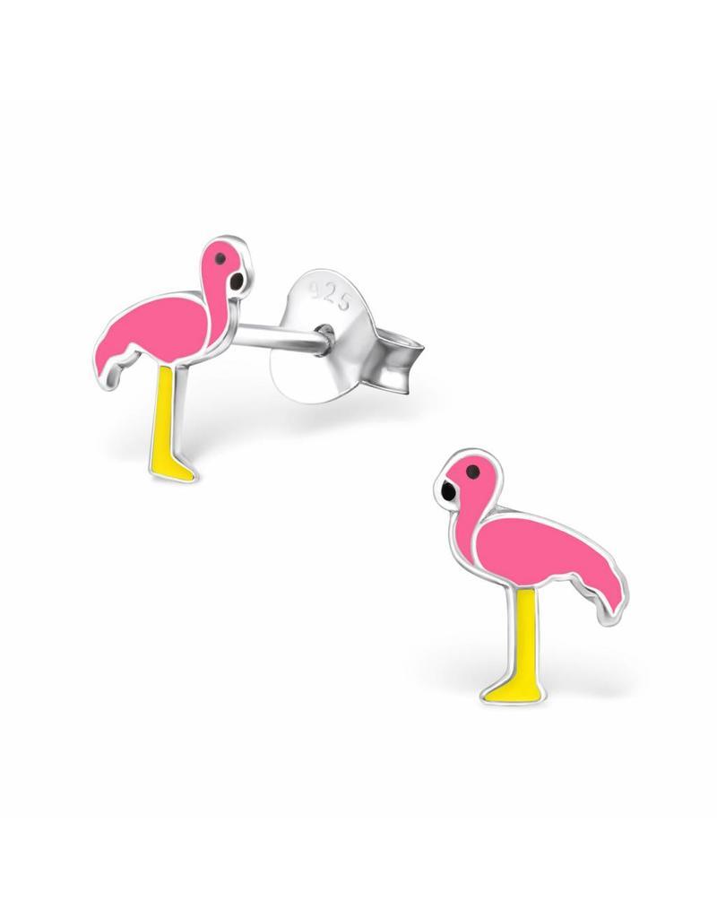 Stekertjes zilver flamingo geel