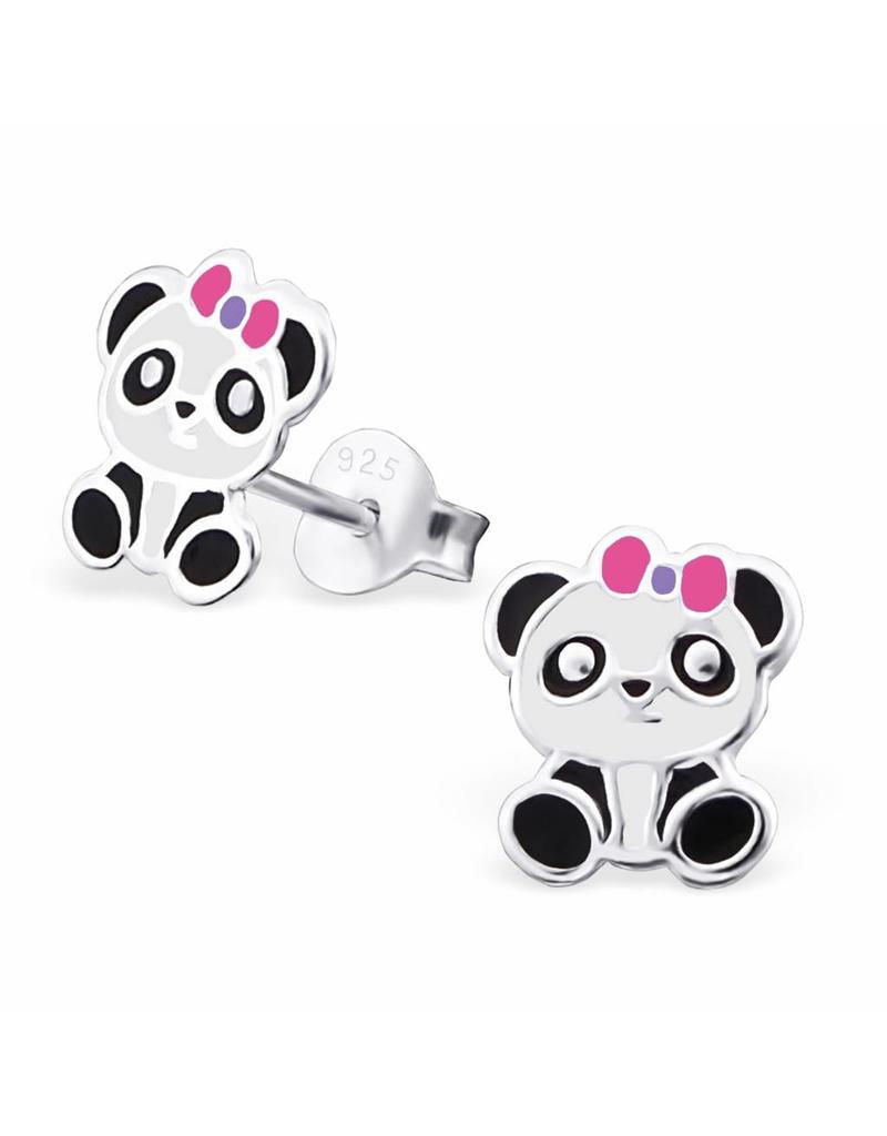 Stekertjes zilver panda strik