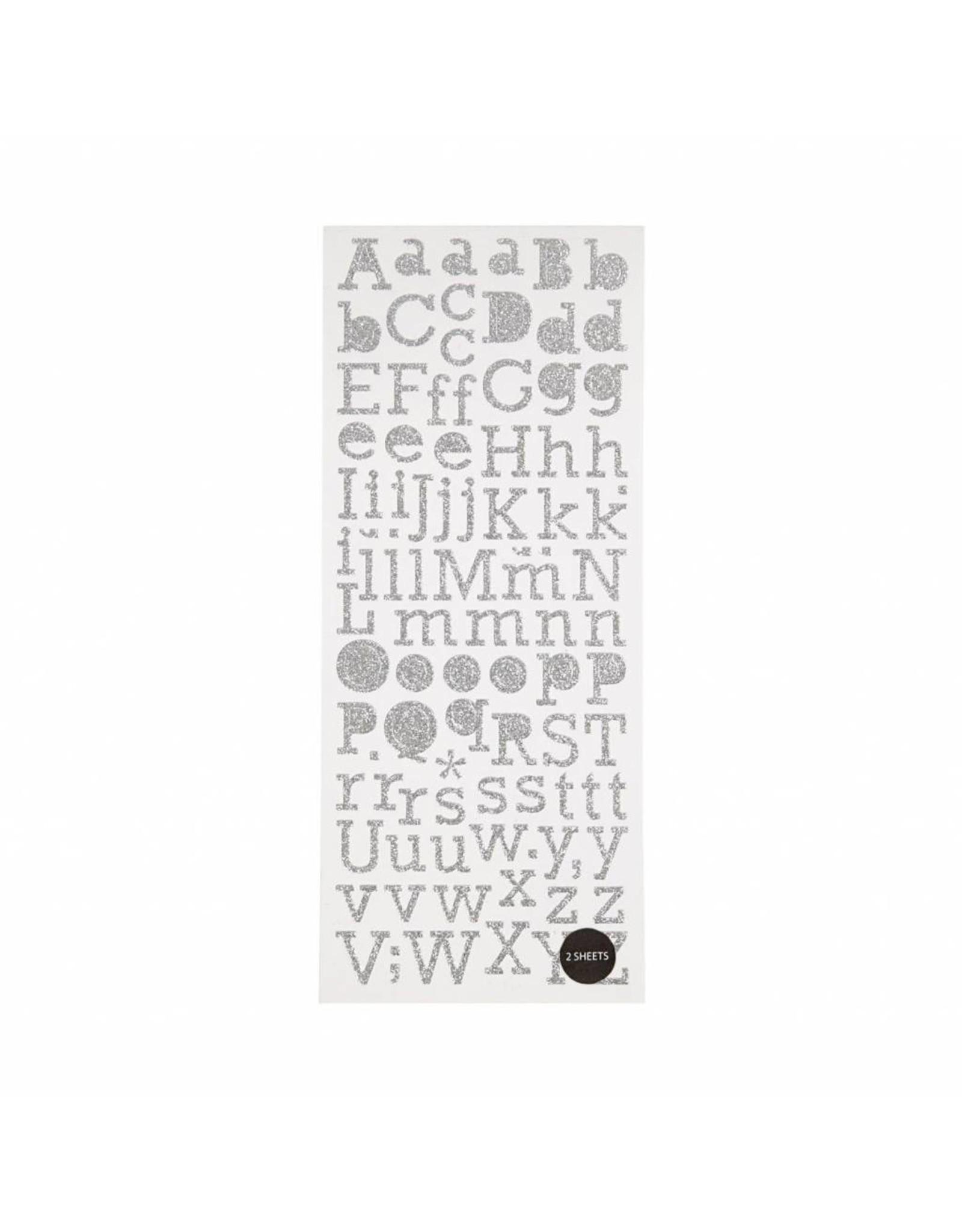 Stickers alfabet zilver