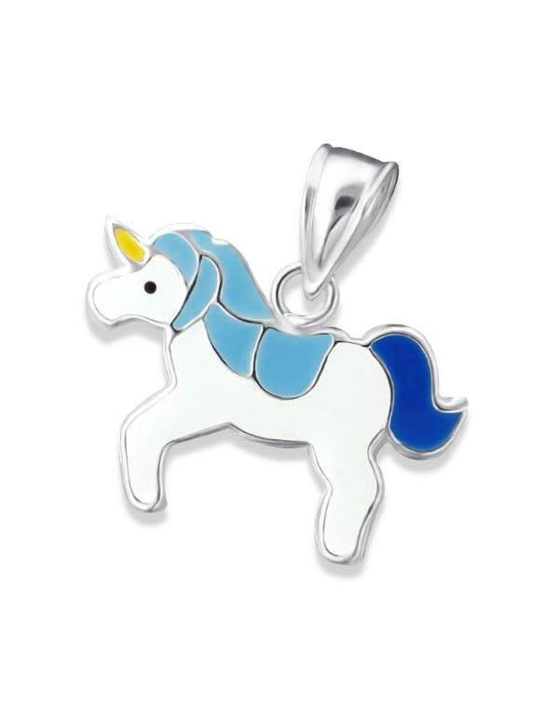 Hangertje zilver eenhoorn blauw