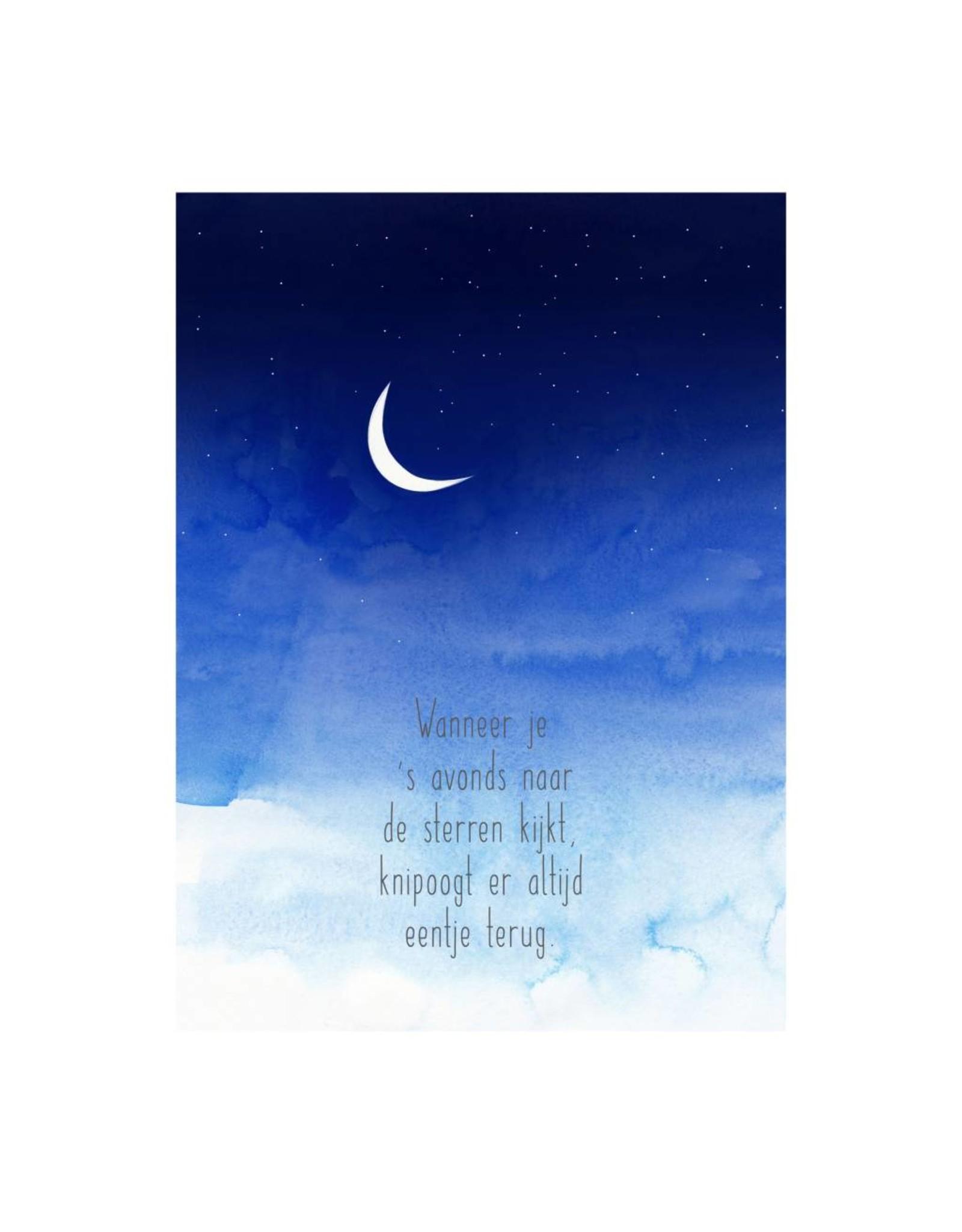 postkaart Wanneer je 's avonds naar de sterren kijkt
