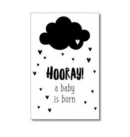 Mini kaartje Hooray! A baby is born