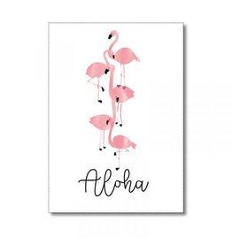 Postkaart Aloha flamingo