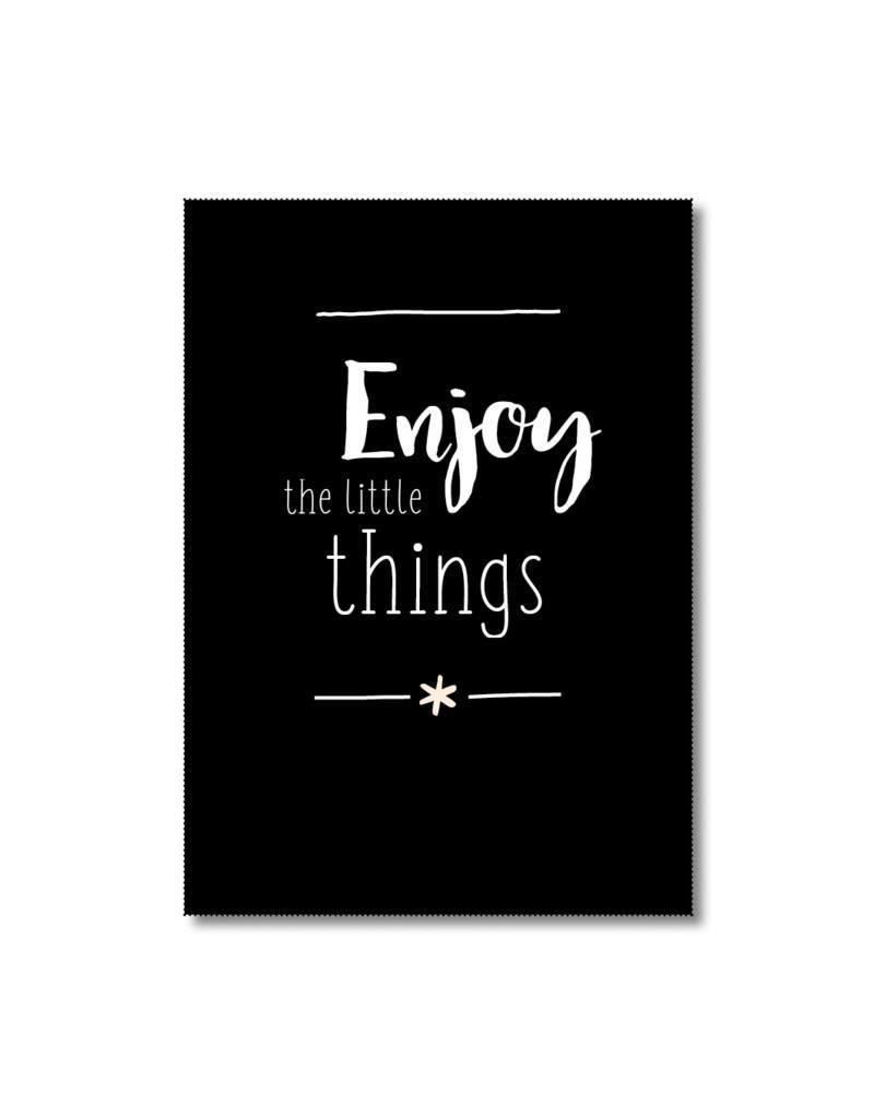 Postkaart Enjoy the little things zwart