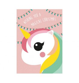 postkaart Kerst eenhoorn roze