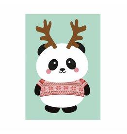 postkaart Kerst panda kersttrui