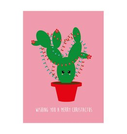 postkaart Kerst Wishing you a merry christactus