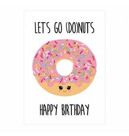 postkaart Let's go donuts