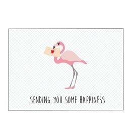 Postkaart sending you some happiness flamingo