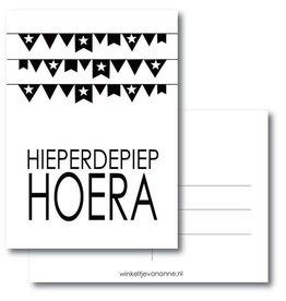 postkaart Hieperdepiep hoera vlaggetjes