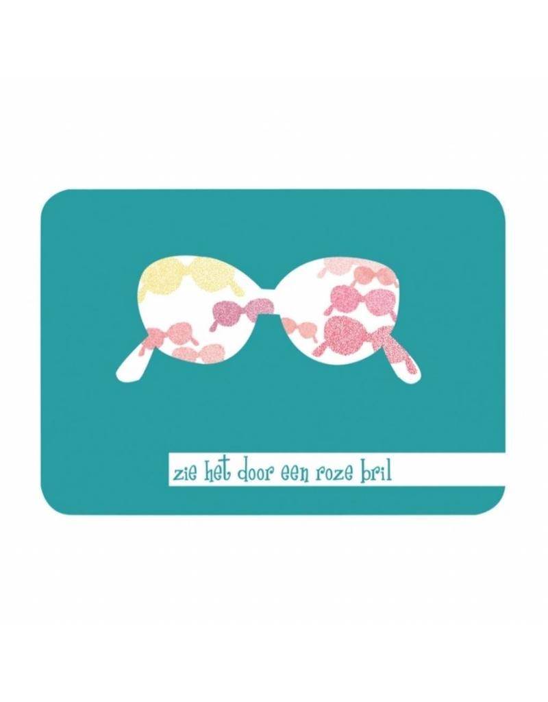 Postkaart Zie het door een roze bril