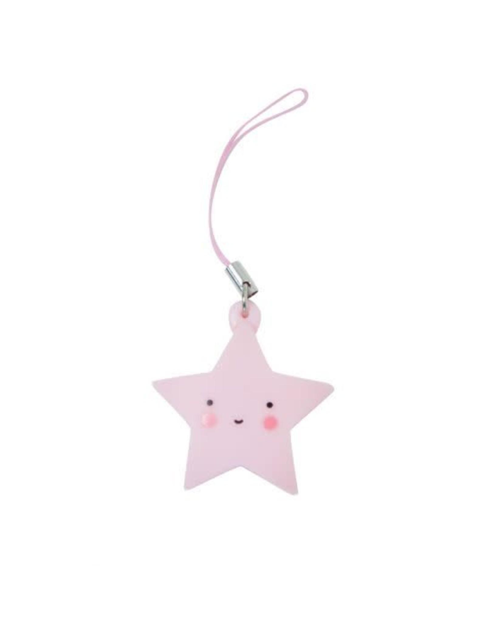 Sleutelhangertje ster roze