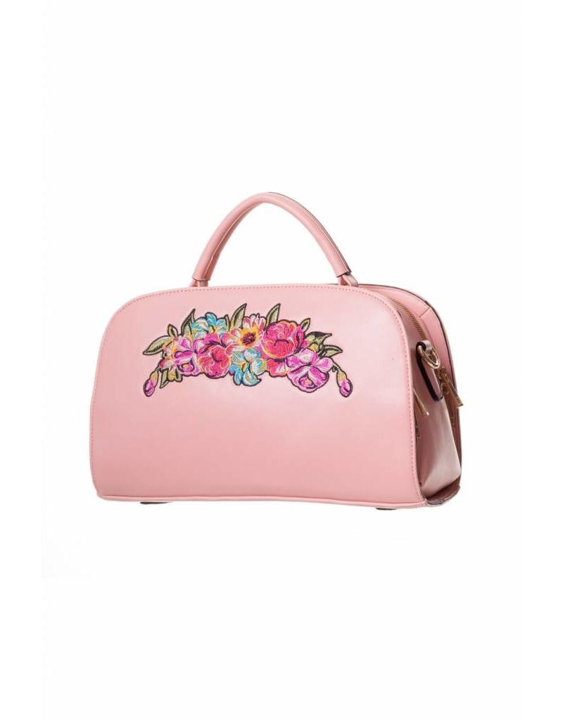 Handtas borduur roze