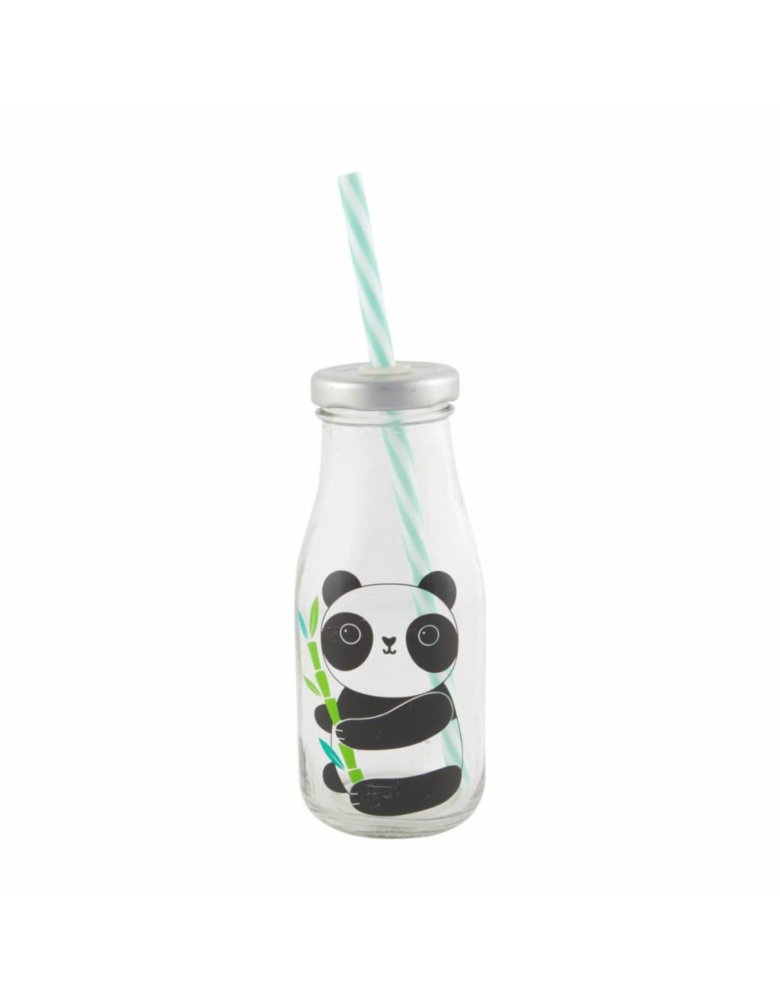 Glazen fles met rietje panda