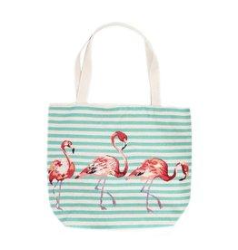 Shopper canvas flamingo turquoise