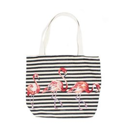 Shopper canvas flamingo zwart