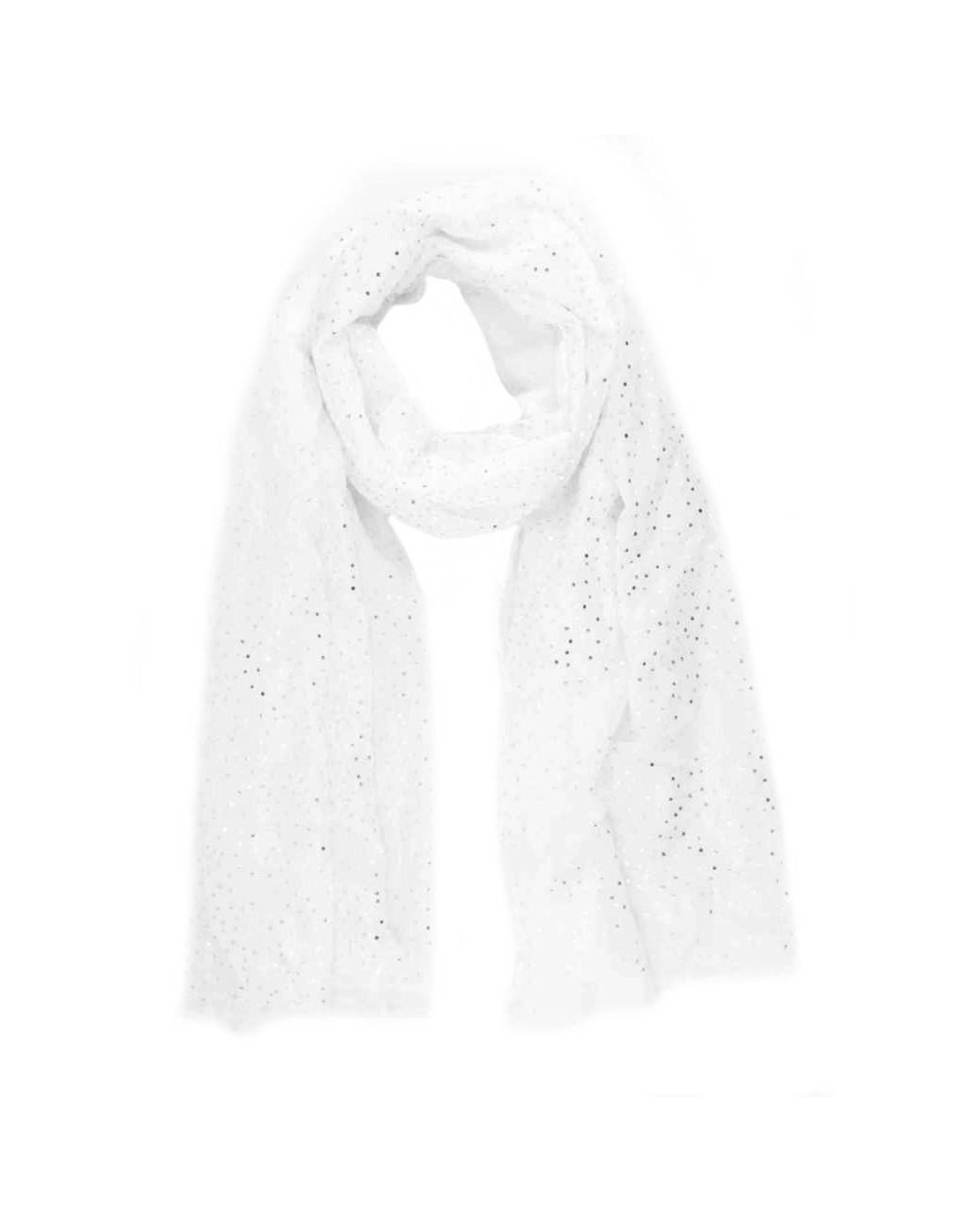Sjaal zilveren stippen wit