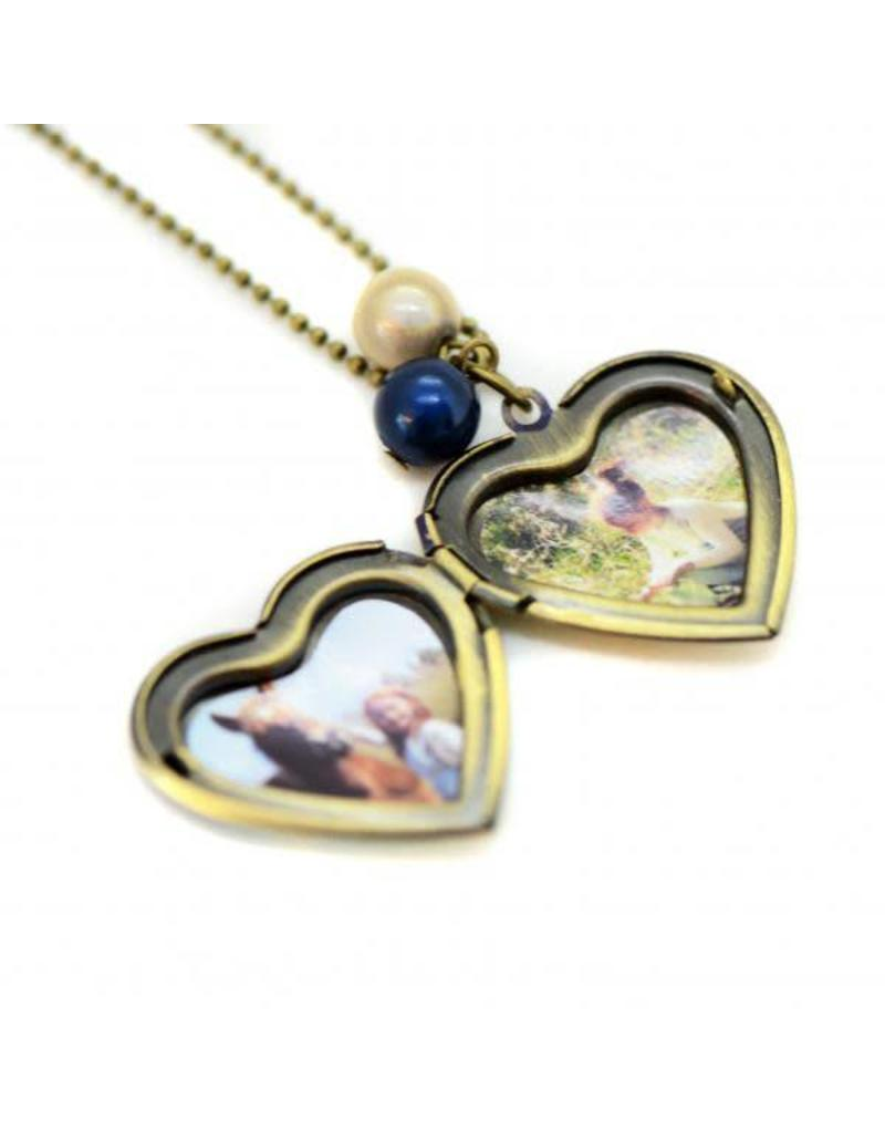 Locket hart flamingo
