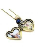 Locket hart bloem blauw