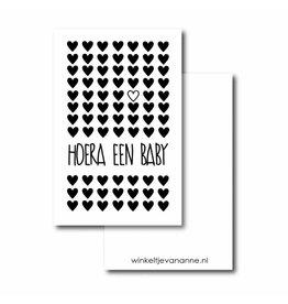 Mini kaartje Hoera een baby