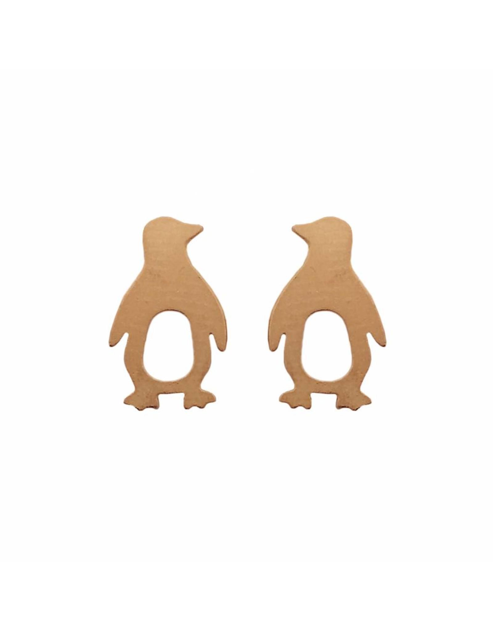 Stekertjes pinguïn rose goudkleurig