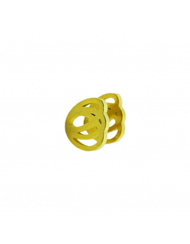 Stekertjes 3D bloem goudkleurig