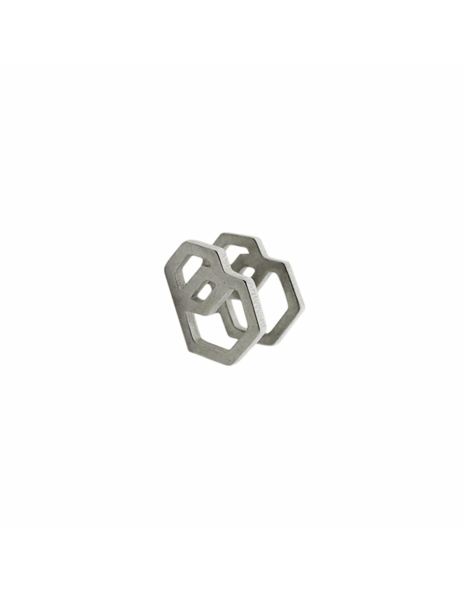 Stekertjes 3D zeshoeken zilverkleurig