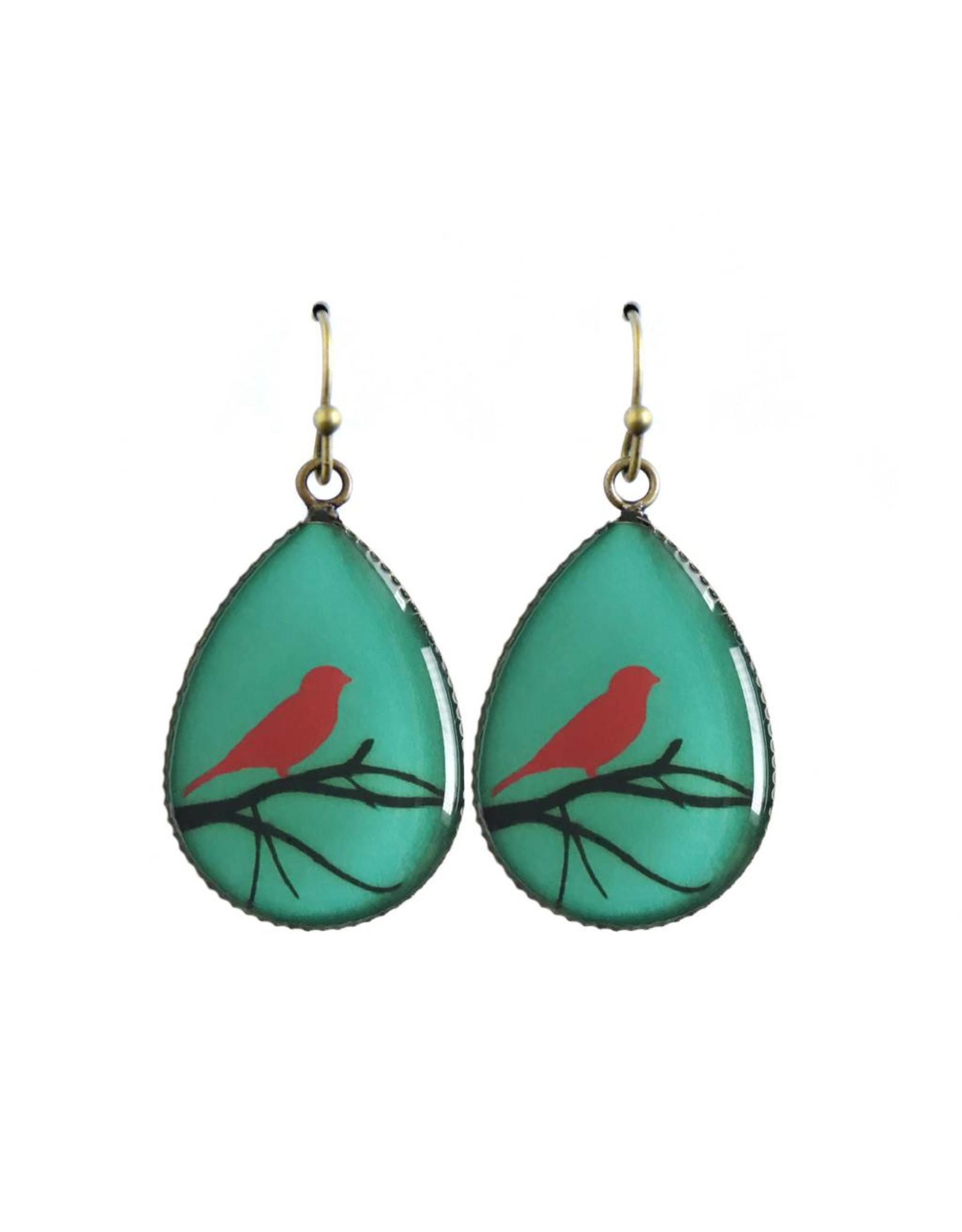 oorbEllen resin vogel turquoise