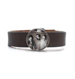Perso armband leder breed